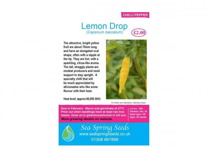 Lemon drop chilli seeds from Sea Spring Seeds