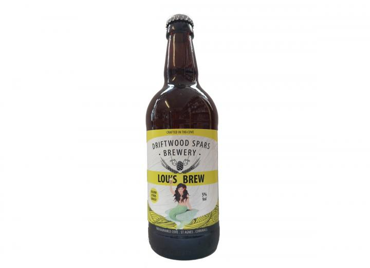 Lou's Brew ale, brewed in Cornwall by Driftwood Spars Brewery