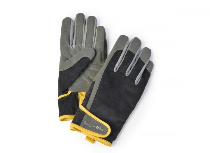 Men's grey corduroy gardening gloves from Burgon & Ball