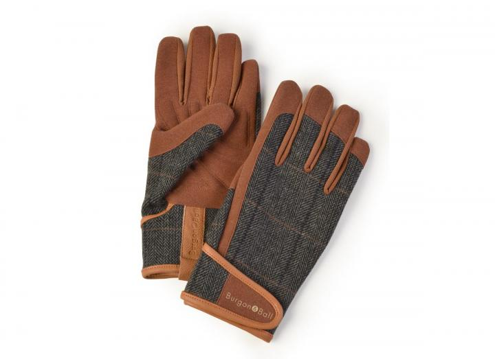 Men's tweed gardening gloves from Burgon & Ball