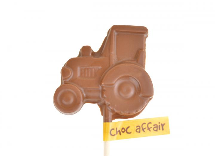 Choc Affair milk chocolate tractor lolly