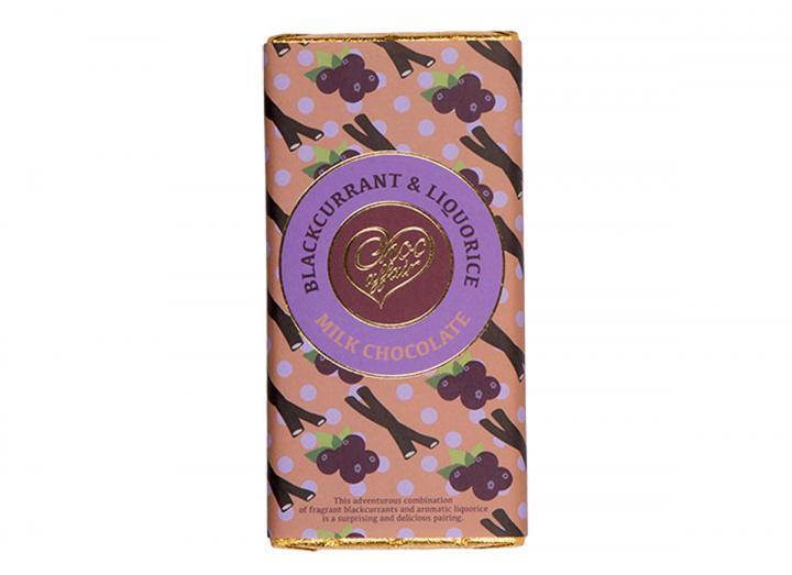 Blackcurrant & liquorice milk chocolate bar from Choc Affair