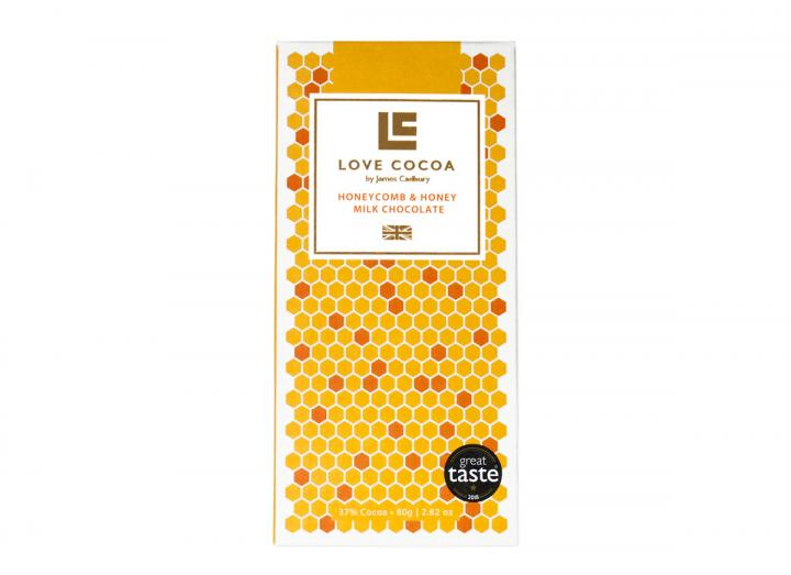 Love Cocoa milk chocolate with honeycomb & honey 80g