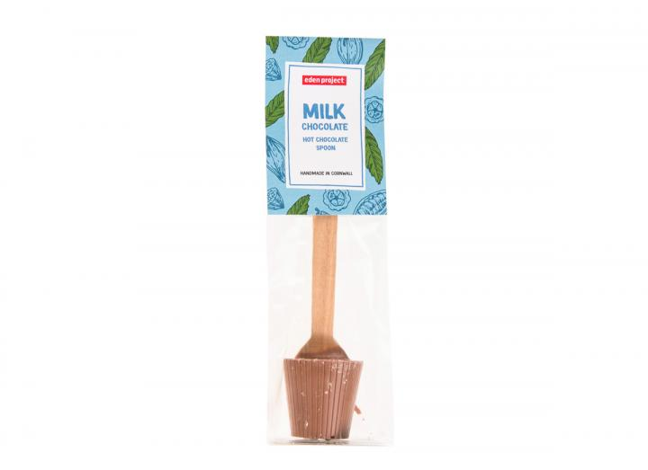 Milk chocolate hot chocolate spoon, Eden Project branded