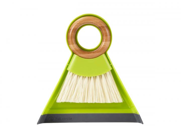 Full Circle mini brush & dustpan set in green, made from bamboo & recycled plastic