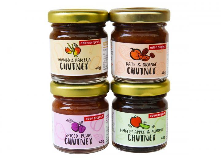 Set of 4 mini jars of chutney
