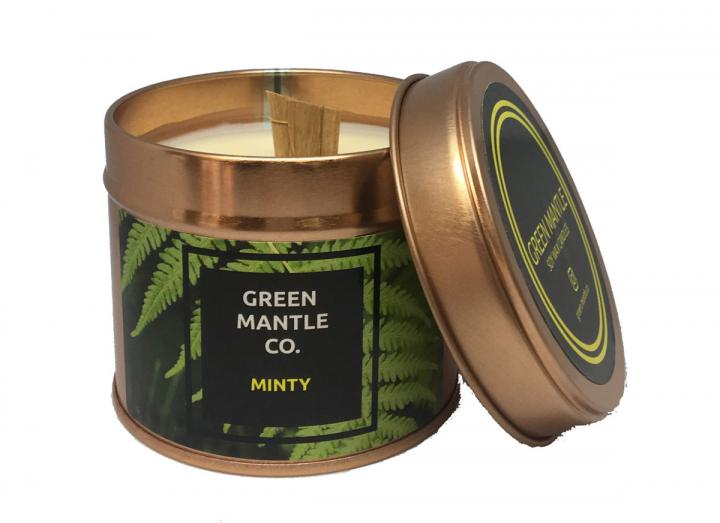 Minty scented tin candle from Green Mantle Co.