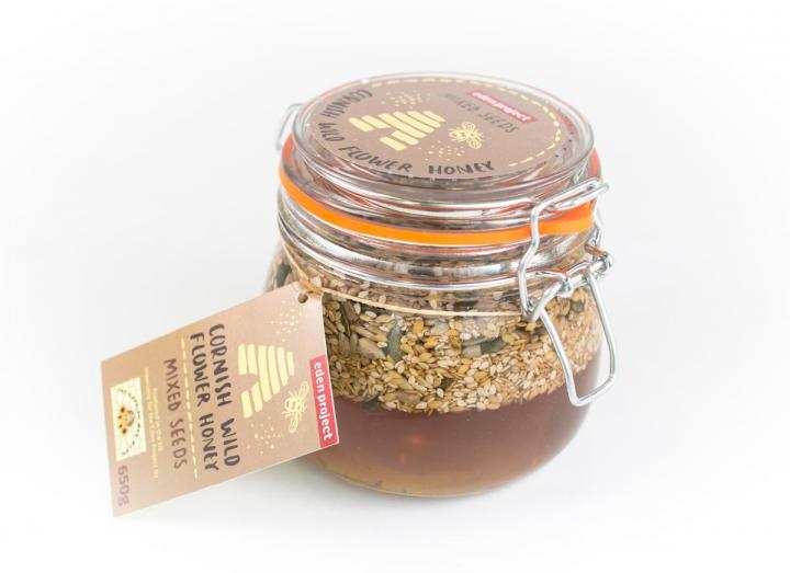 Mixed seeds in Cornish wildflower honey