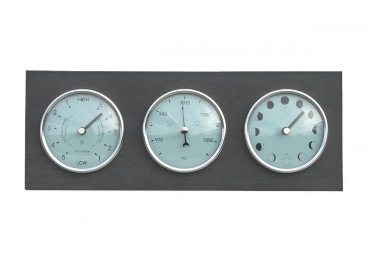 Moon, tide clock & barometer made from recycled materials