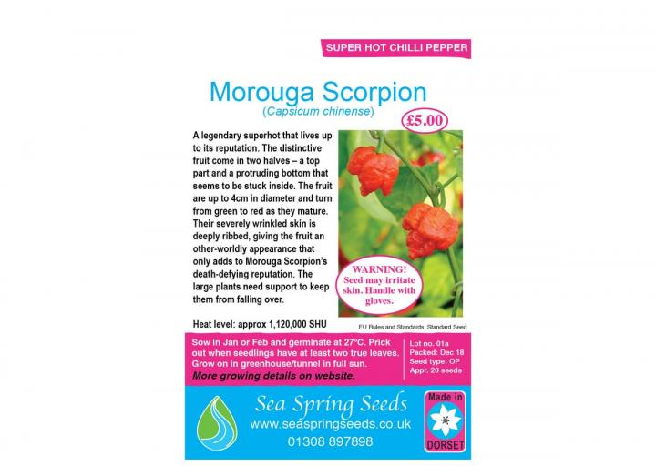 Morouga scorpion chilli seeds from Sea Spring Seeds