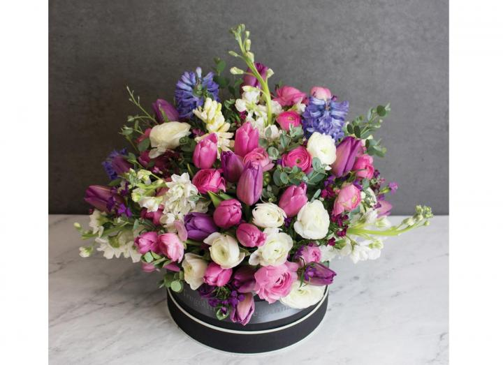 Hat box bouquet, hand-tied by Tregothnan especially for Mother's Day