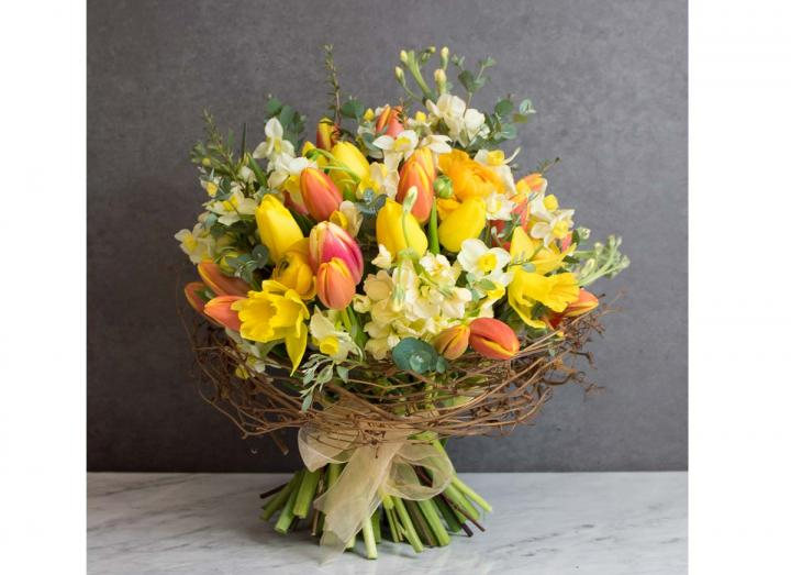 Nest bouquet, hand-tied by Tregothnan especially for Mother's Day