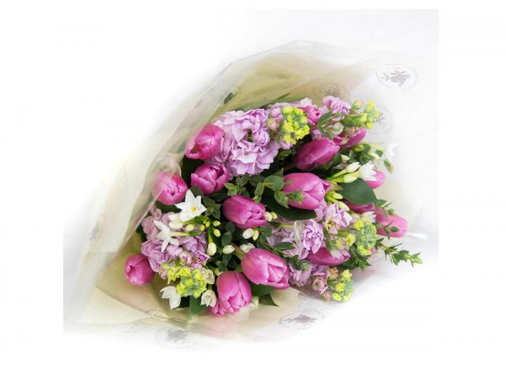 Pink bouquet, hand-tied by Tregothnan especially for Mother's Day