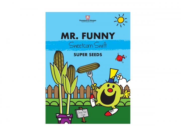 Mr Men range of seeds from Thompson & Morgan - Mr Funny sweetcorn swift seeds