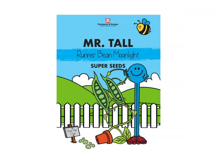 Mr Men range of seeds from Thompson & Morgan - Mr Tall runner bean 'moonlight' seeds