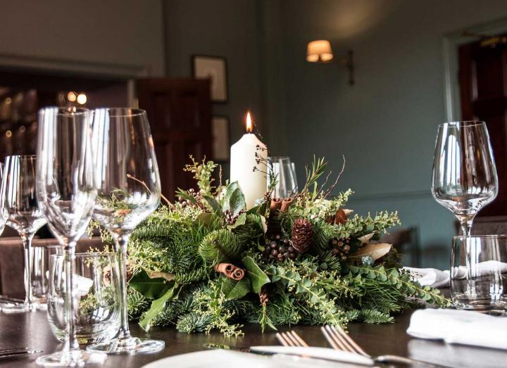 Natural collection table decoration handmade on the Tregothnan estate in Cornwall
