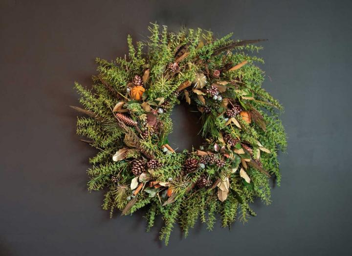 Natural collection Christmas wreath handmade on the Tregothnan estate in Cornwall