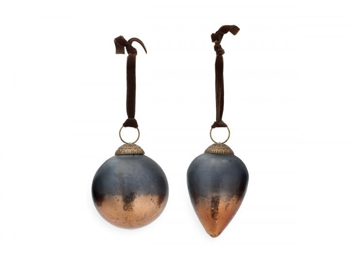 Nevasa baubles dark smoke & antique copper from Nkuku