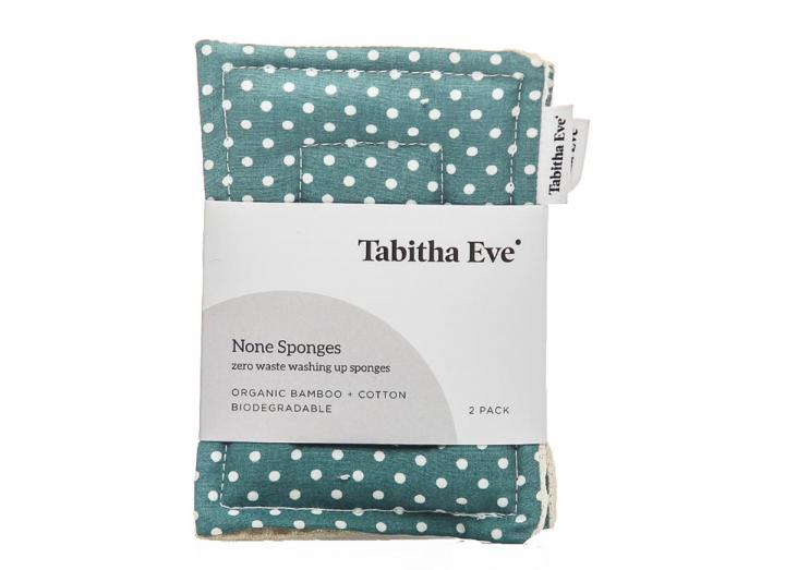 None sponge pack of 2 in dot print, handmade by Tabitha Eve. Plastic free cleaning.