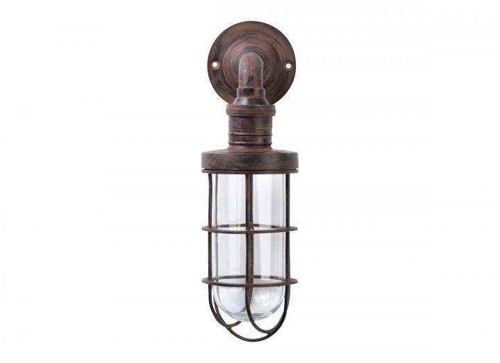 Obere caged outdoor light with a rust finish from Nkuku