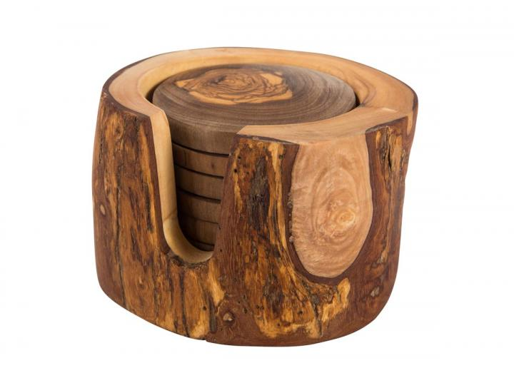 Set of 6 rustic style coasters made from olive wood presented in matching holder
