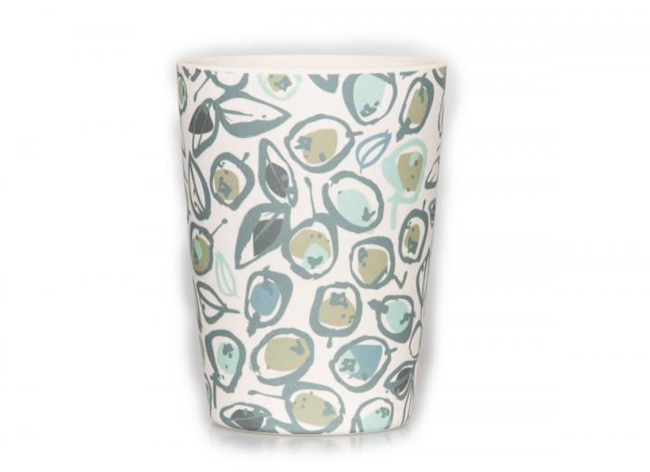 Bamboo beaker with a teal olive print design