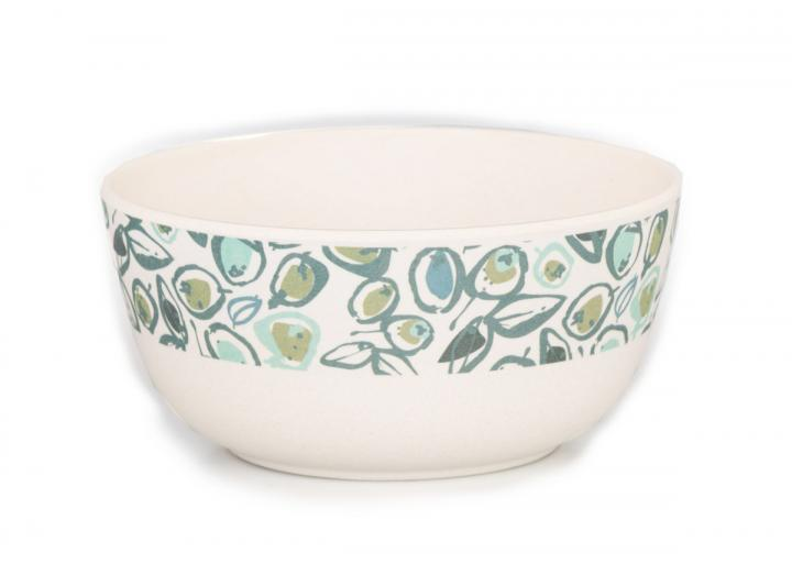 Bamboo cereal bowl with teal olive print design