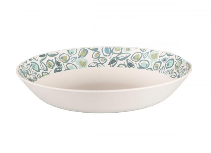 Bamboo pasta bowl with teal olive print design