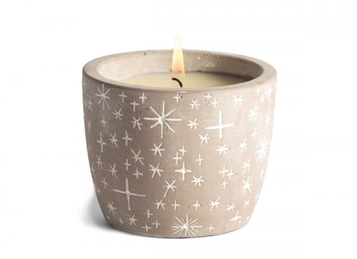 Orange & Cinnamon scented star pot candle, handmade in Cornwall by St Eval Candle Co.
