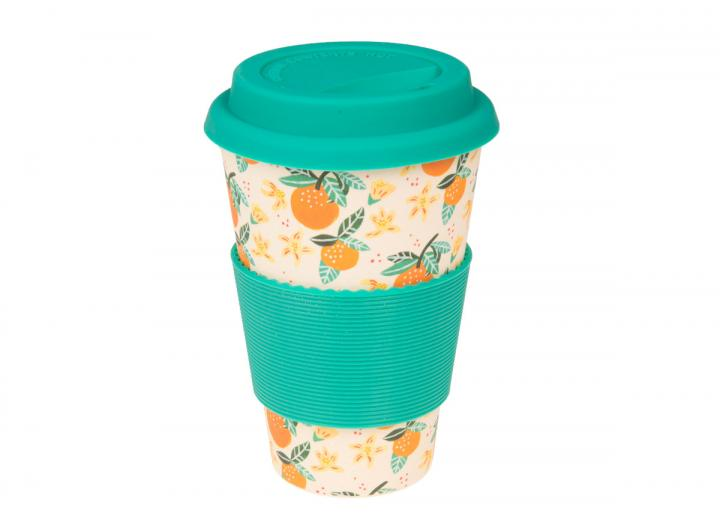 Orange print bamboo coffee cup, exclusive Eden Project design