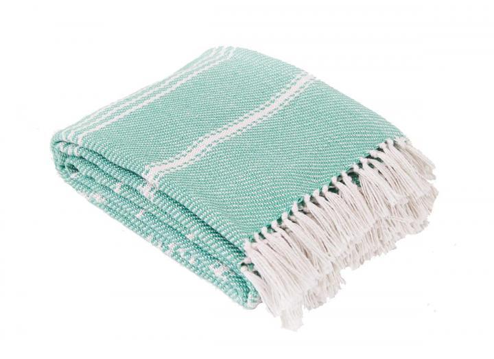 Weaver Green oxford stripe aqua blanket