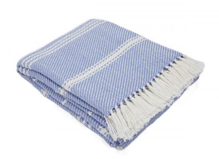 Oxford stripe blanket in cobalt from Weaver Green