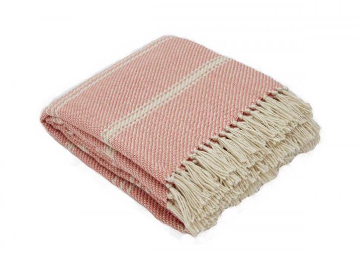 Oxford stripe blanket in coral from Weaver Green