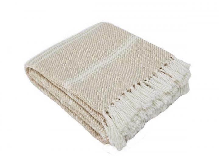 Oxford stripe blanket in linen from Weaver Green