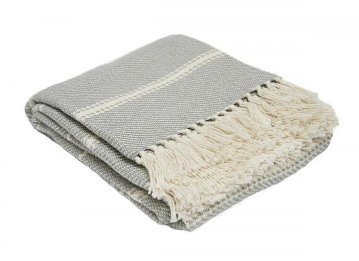 Weaver Green oxford stripe dove grey blanket