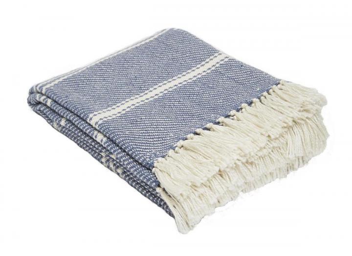 Weaver Green oxford stripe navy blanket