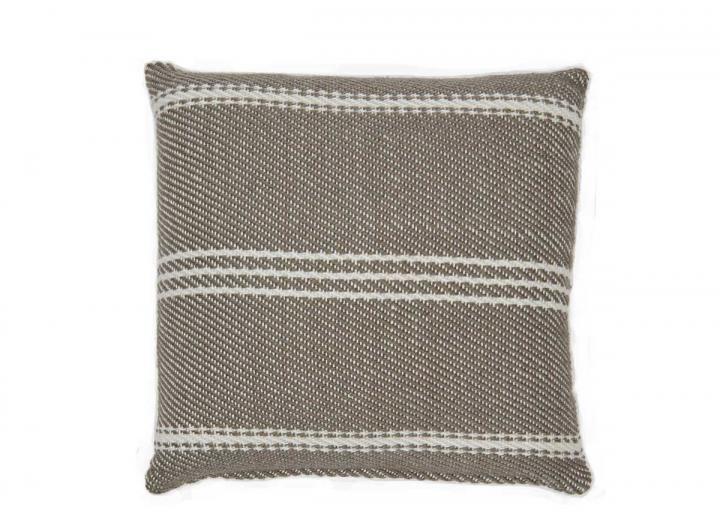 Oxford stripe cushion in monsoon from Weaver Green