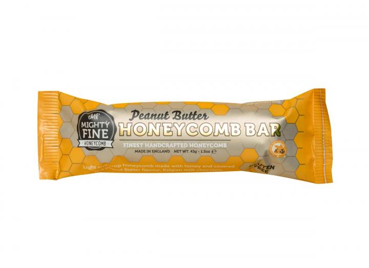 Peanut butter flavoured chocolate coated honeycomb bar