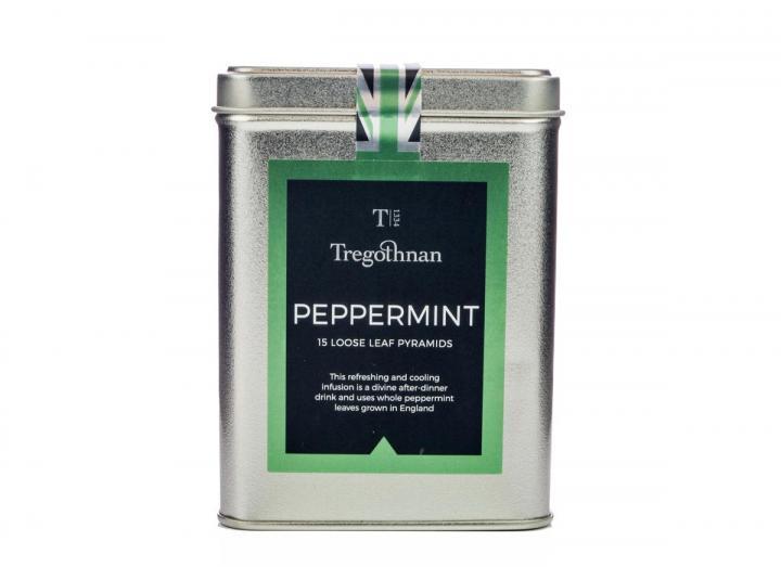 Tregothnan peppermint tea loose leaf 15 pyramids caddy
