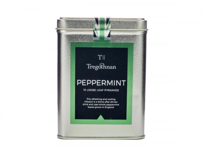 Tregothnan peppermint tea loose leaf 15 pyramids caddy