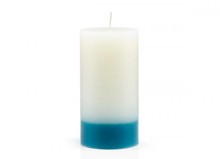 Watercolour scented pillar candle made by The Recycled Candle Company
