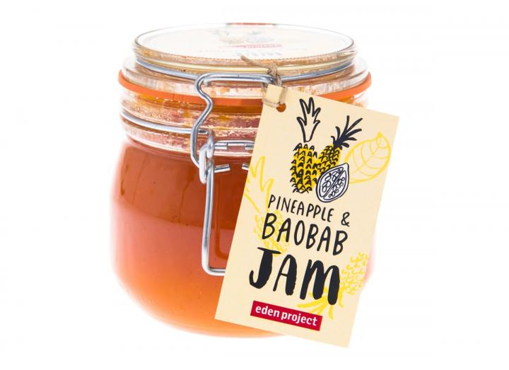 Jar of pineapple and baobab jam