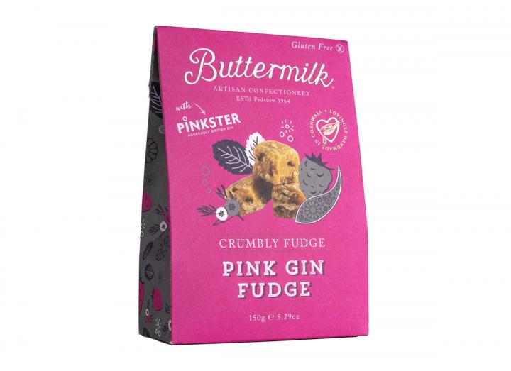 Buttermilk crumbly pink gin fudge handmade in Cornwall