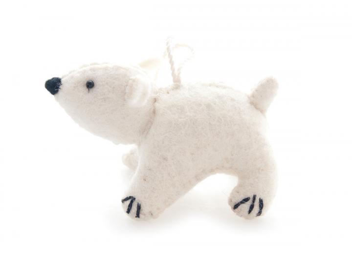 Polar Bear felt hanging decoration