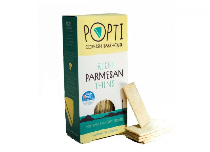 Popti Parmesan savoury thins, handmade in Cornwall
