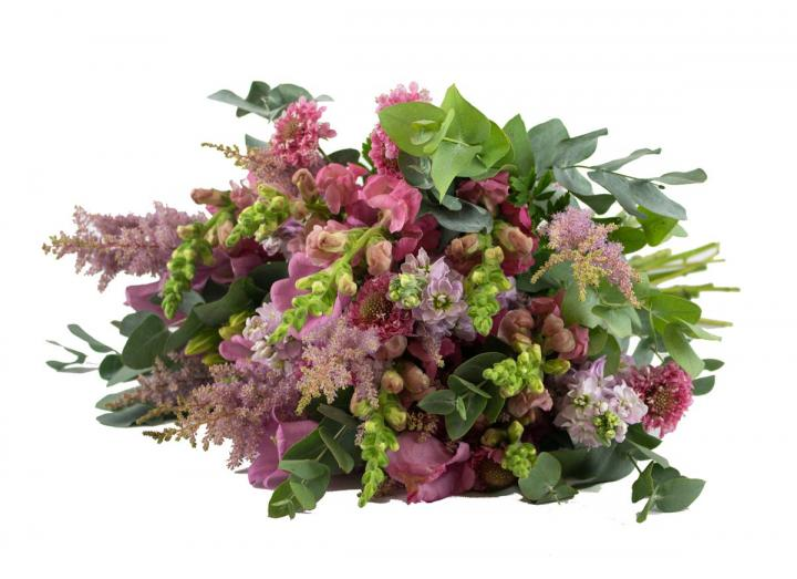 Pure Pink bouquet, hand-tied by Tregothnan