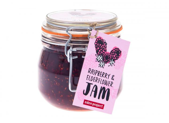 Jar of raspberry and elderflower jam