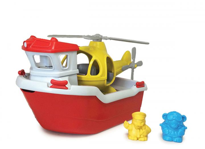 Recycled rescue boat with helicopter