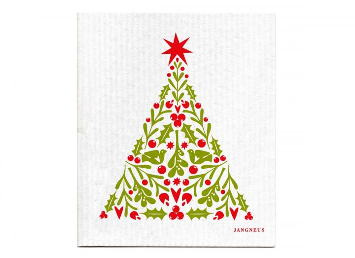 Red Christmas tree patterned biodegradable dishcloth from Jangneus