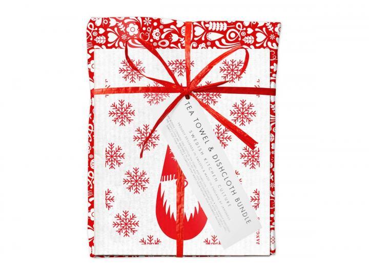 Red dala christmas tea towel & dishcloth gift set